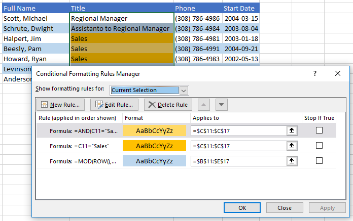 Excel: Banding alternate rows, even with conditions